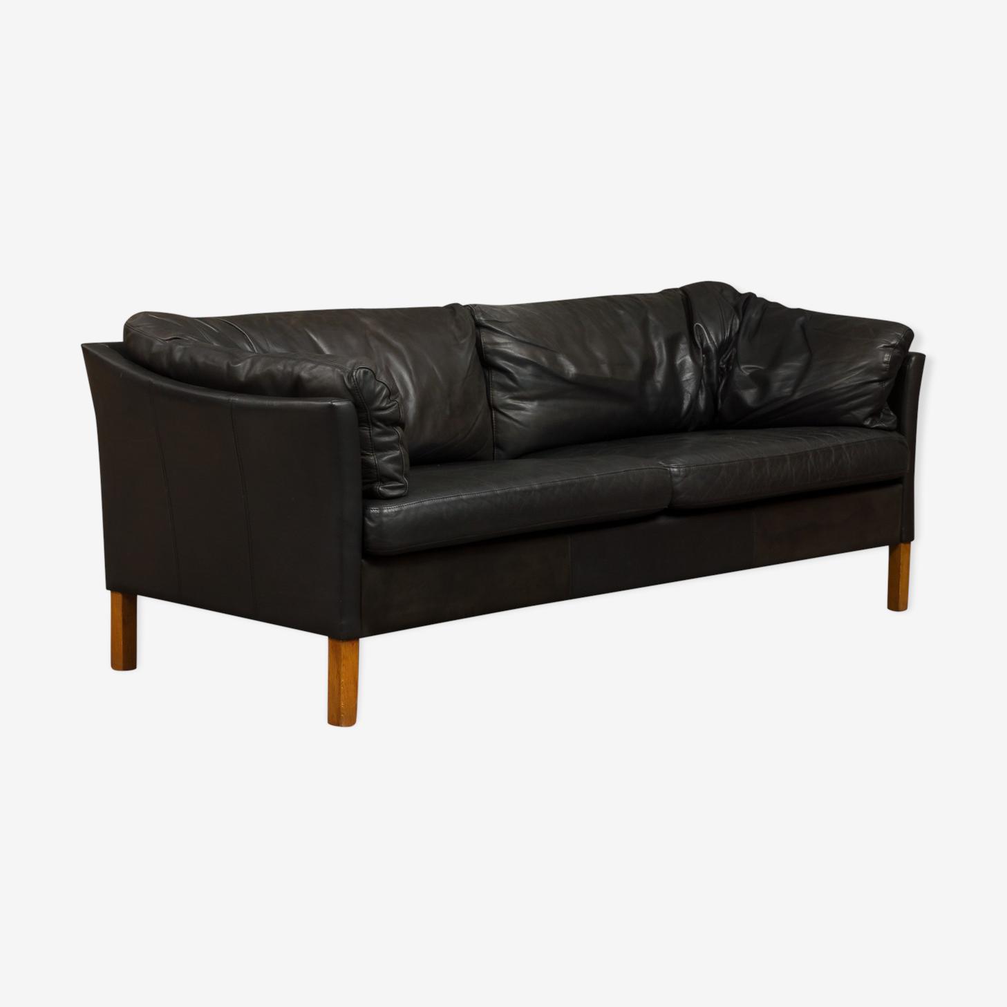 Sofa en cuir noir Mogens Hansen 2,5