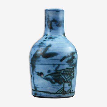 Vase enamelled blue and green décor incised stylised animals