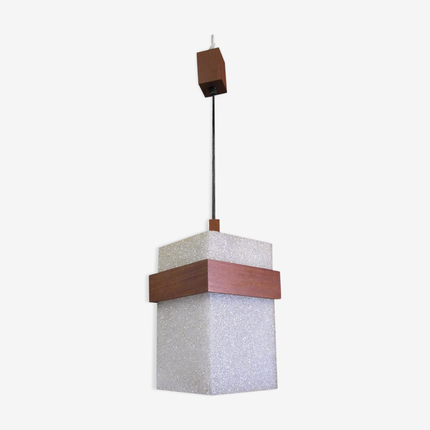 Suspension bois et perspex granité style scandinave