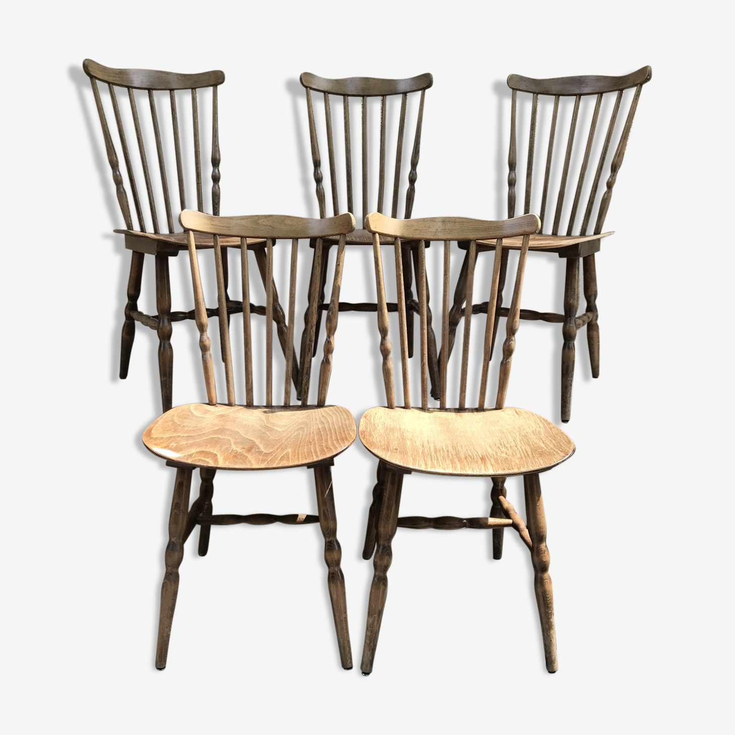 Série de 5 chaises anciennes signées Baumann années 70