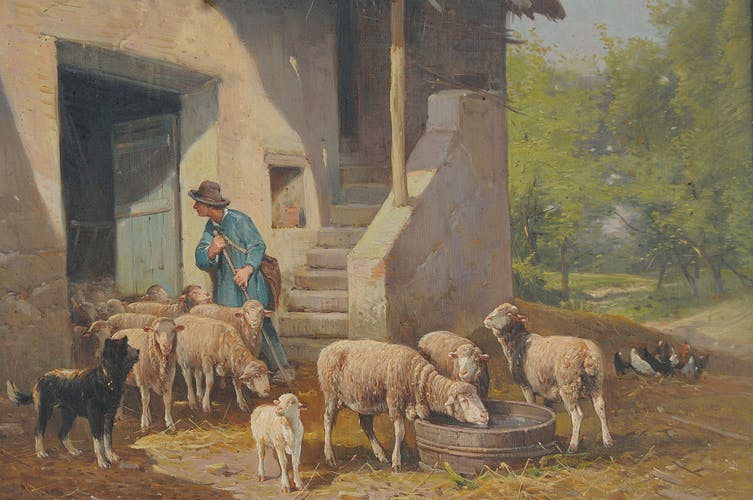 Oil on canvas depicting the shepherd and his sheep