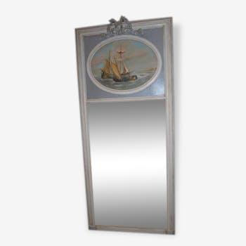 Miroir trumeau en bois avec peinture maritime