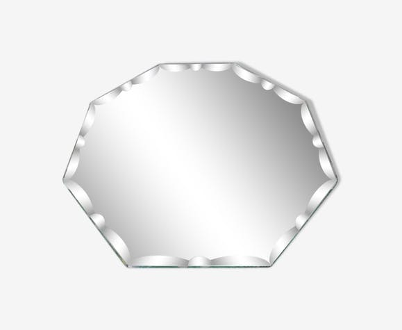 Miroir octogonal biseauté art deco années 40 50 21x21cm