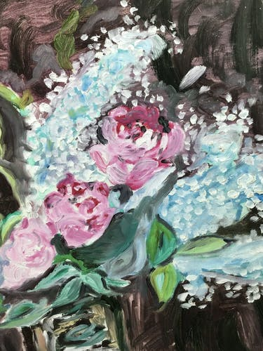 Painting, still life with white and pink licas