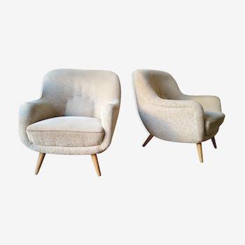 Paire de fauteuils sculptural EGG années 50 60