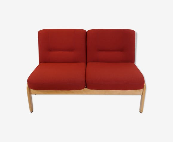 2-seater red sofa, France 1980s