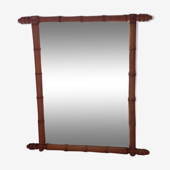 Miroir bambou debut XXe siècle 67x75cm