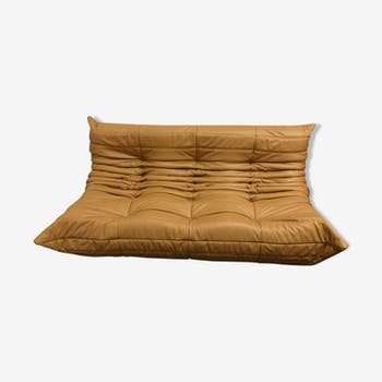 "Sofa 3 places ""Togo"" mustard leather by Michel Ducaroy for Ligne Roset"