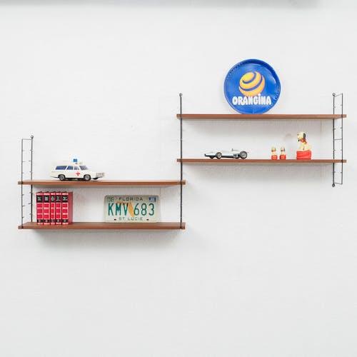Étagère murale années 1960s, teck, 4 planches