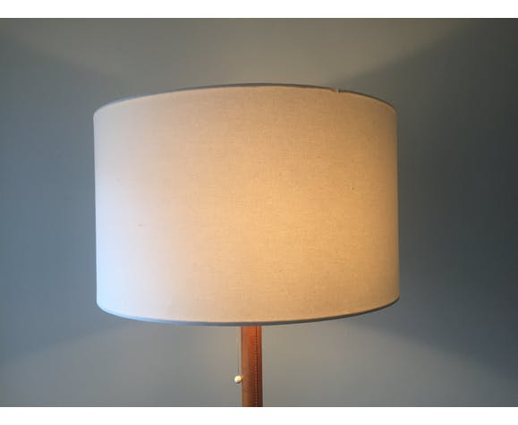 Leather and brass floor lamp
