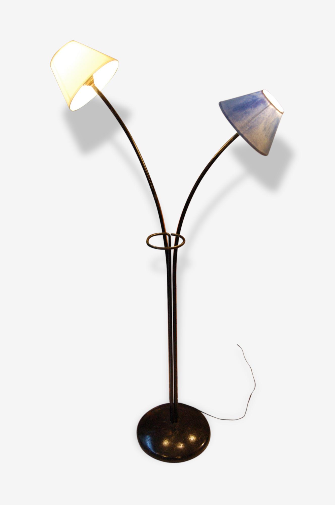 LAmpadaire vintage 2 bras métal noir Années 60