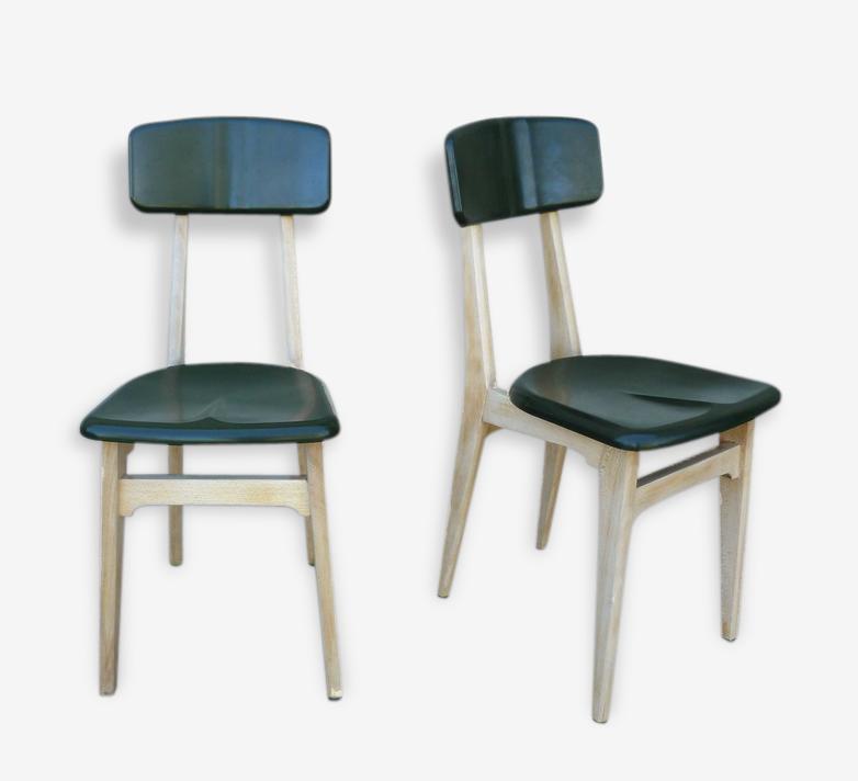 Paire de chaises bi-matière années 50 - 60