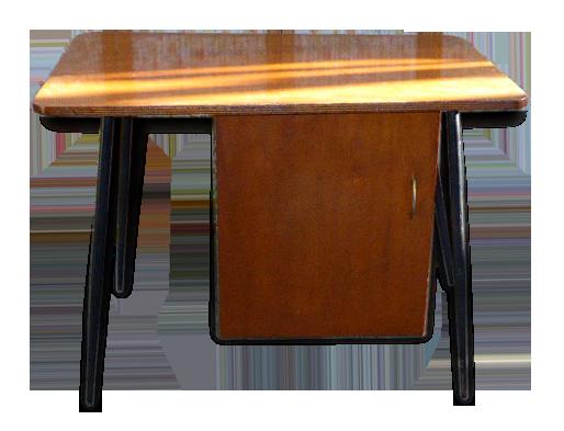 Bureau à caisson vintage pieds compas noir et bois vernis