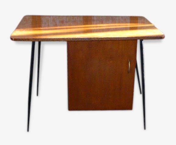 Bureau à caisson vintage 1950 pieds compas noir et bois vernis