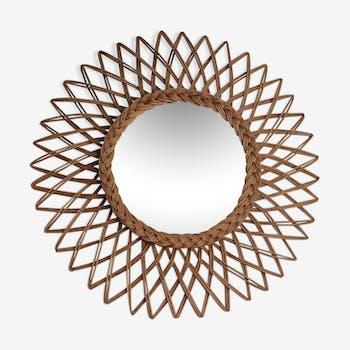 Sun mirror in braided rattan. 1960. 52cm.