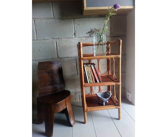 Selette étagère sur pieds en bois et rotin vintage