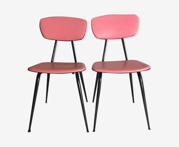 2 chaises skaï sixties vintage