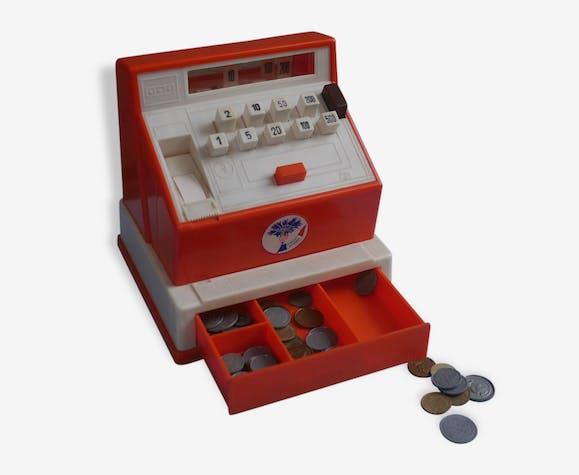 ancienne caisse enregistreuse jouet plastique orange vintage 40636. Black Bedroom Furniture Sets. Home Design Ideas