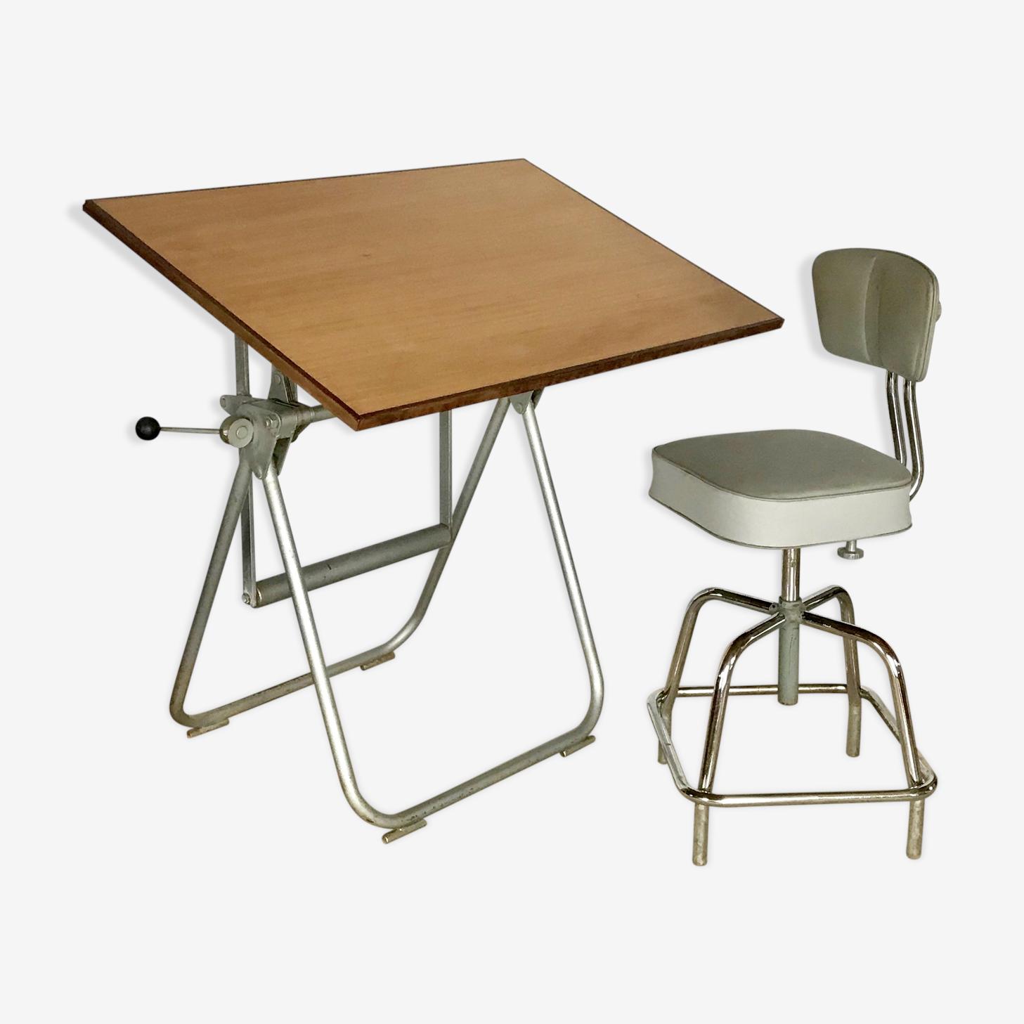 Table à dessin d'architecte Héliolithe vintage et sa chaise