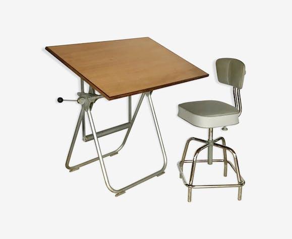 table dessin d architecte h liolithe vintage et sa. Black Bedroom Furniture Sets. Home Design Ideas