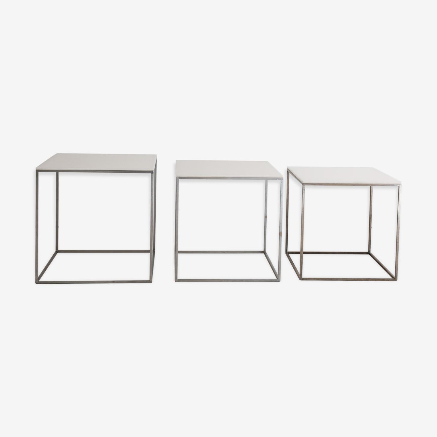 Series of three tables gigilgnes Poul Kjaerholm PK71, Ejvind Kold Christensen, 1957
