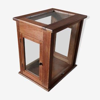 Ancienne boîte de balance vitrée en teck