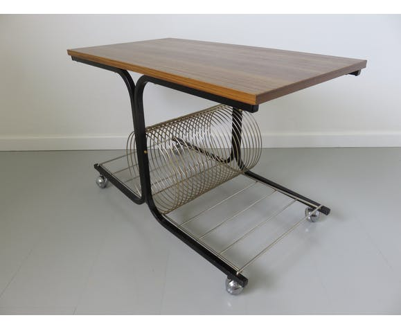 Table basse range vinyles années 50 60