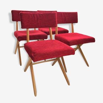 Série de 4 chaises années 50 stella scandinave
