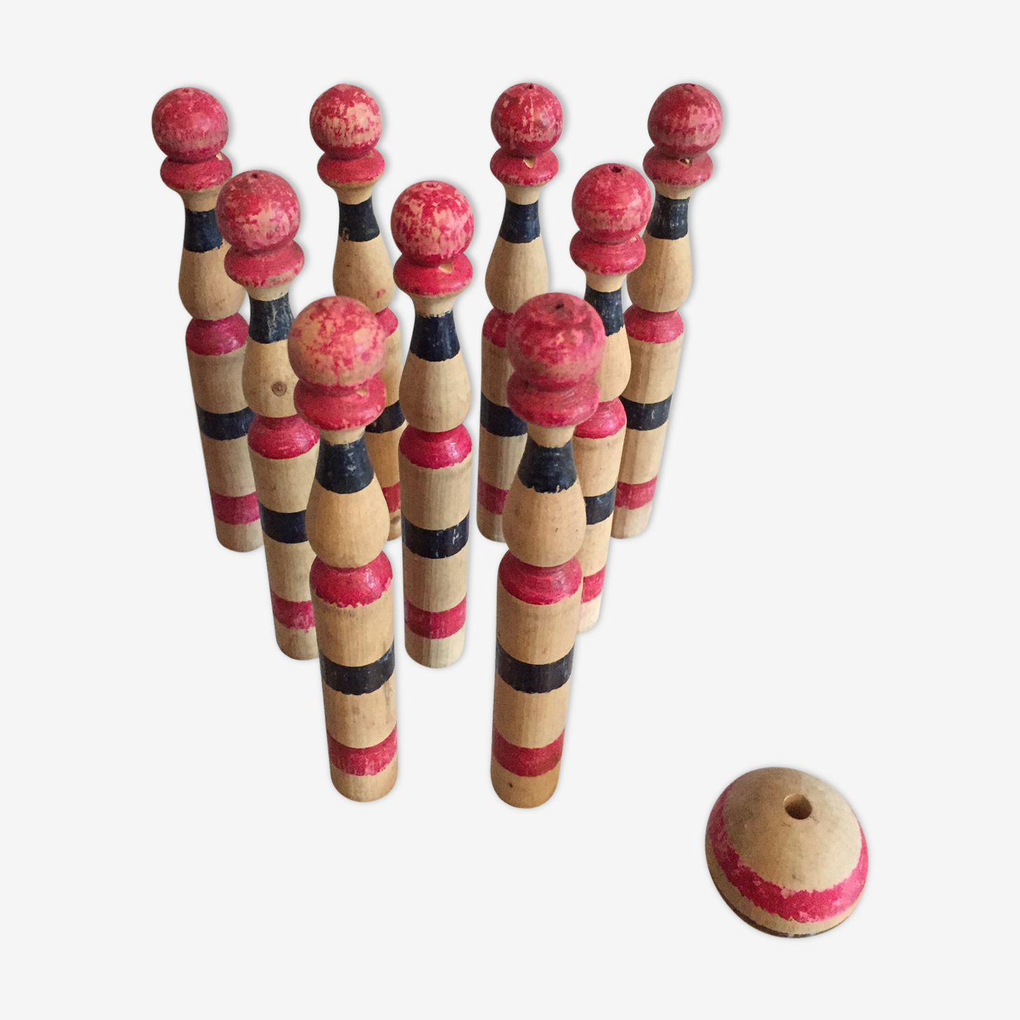 Old wooden bowling game