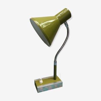 Lampe vintage verte avec insert en bois laqué dans socle en aluminium