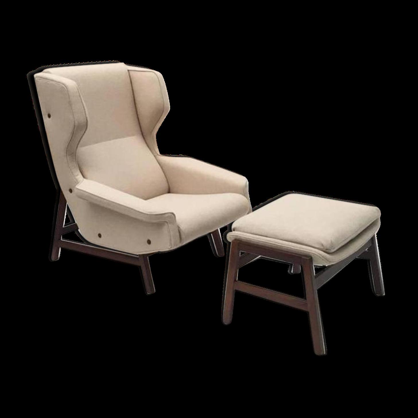 Fauteuil Lounge Et Ottomane Modèle 877 En Palissandre Par Gianfranco  Frattini Pour Cassina 1959