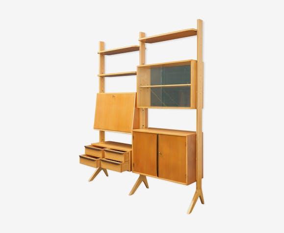 7e0556e2573dea Étagère indépendante séparation de pièce années 50 cerisier - wood ...