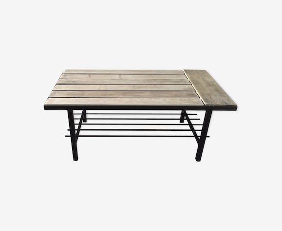 Table Basse Pieds Metallique Noir Dessus Bois Brut Vintage Métal