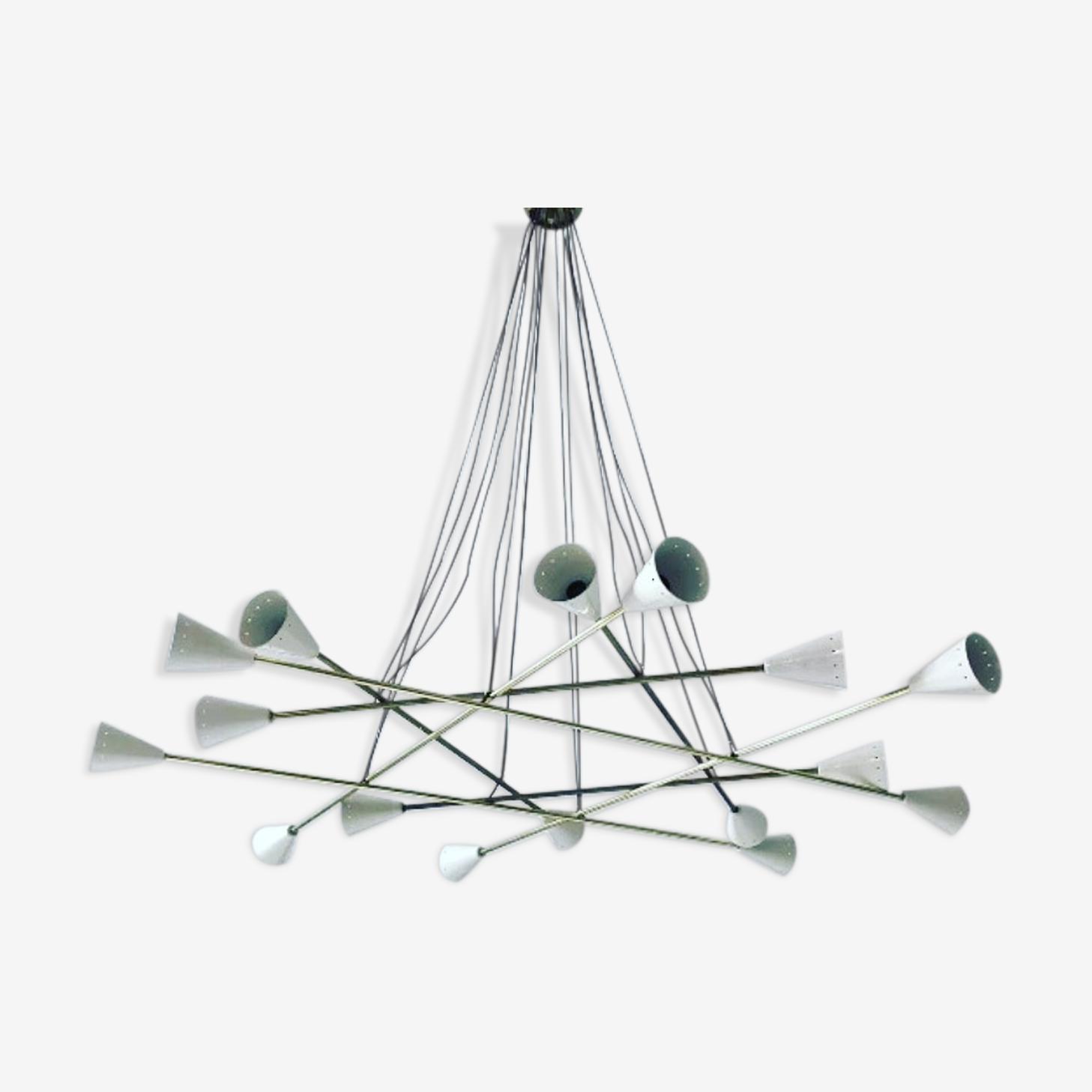 Modernist cathedral chandelier 16 lights 1960 design