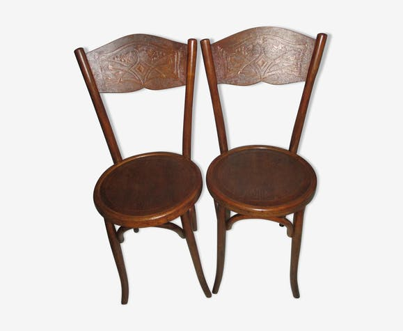 Pair of chairs bistro baumann 1920 - Pair Of Chairs Bistro Baumann 1920 - Wood - Wooden - Vintage - PJAEBxH