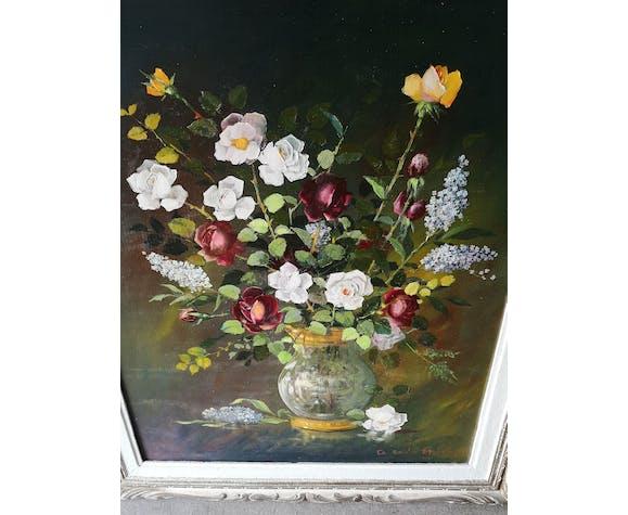 Huile sur panneau bouquet de fleurs