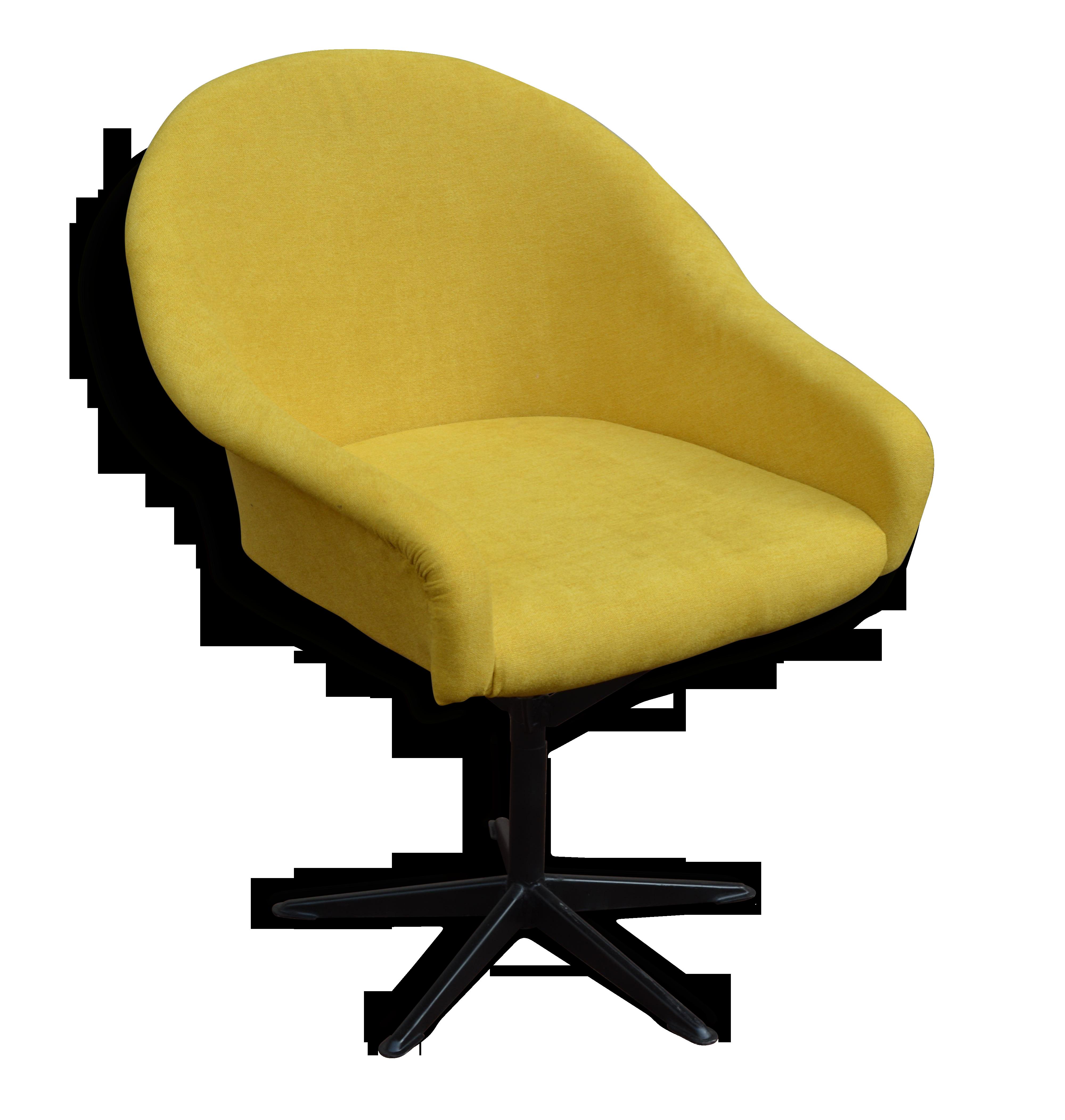 Fauteuil chaise de bureau vintage soviétique jaune moutarde