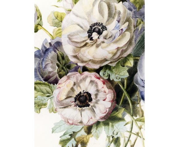 Ensemble de deux gravures aquarellées XIXe bouquets de fleurs