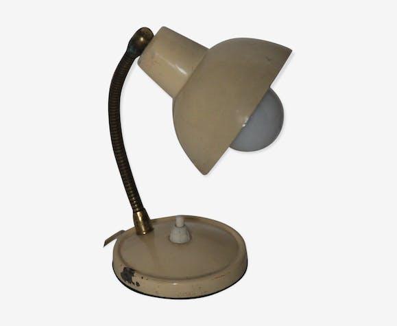 Lampe de bureau en tôle émaillée crème, vers 1950