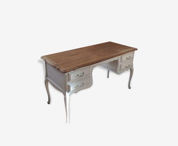 Ancien bureau bois vintage style louis xv bois matériau gris