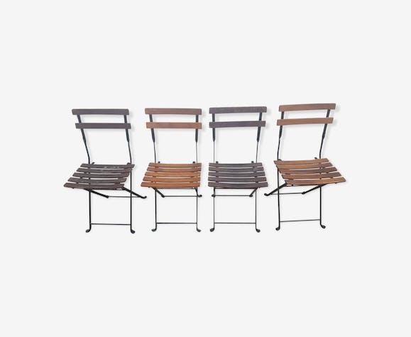 Chaises pliantes de jardin en bois et métal, vintage