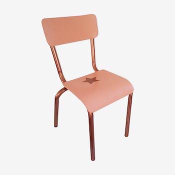 Chaise d'écolier de maternelle vintage des années 60 rose & cuivre