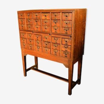 Former business furniture 36 drawer wood old teak 112 x 43 x 137