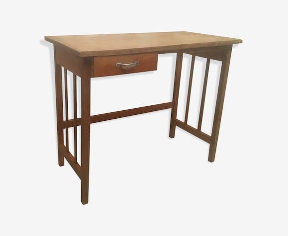 Bureau moderniste en bois de chêne vintage année 50