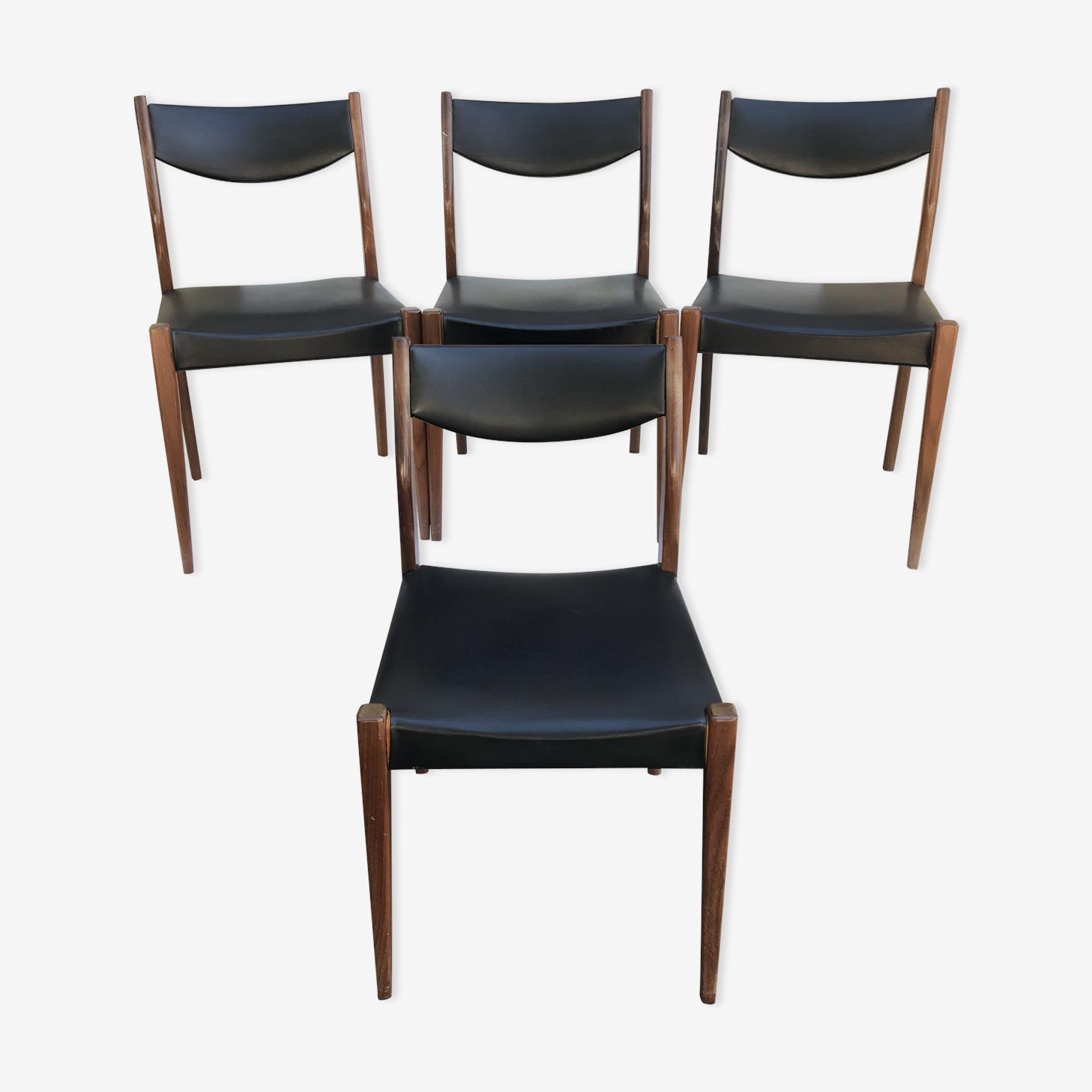 Série de 4 chaises anciennes scandinaves bois