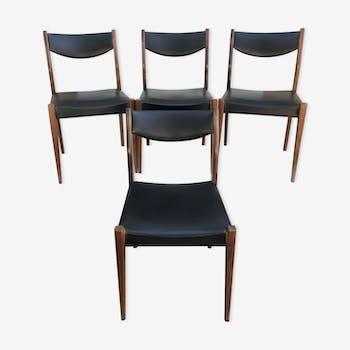 Set of 4 scandinavian wooden chairs