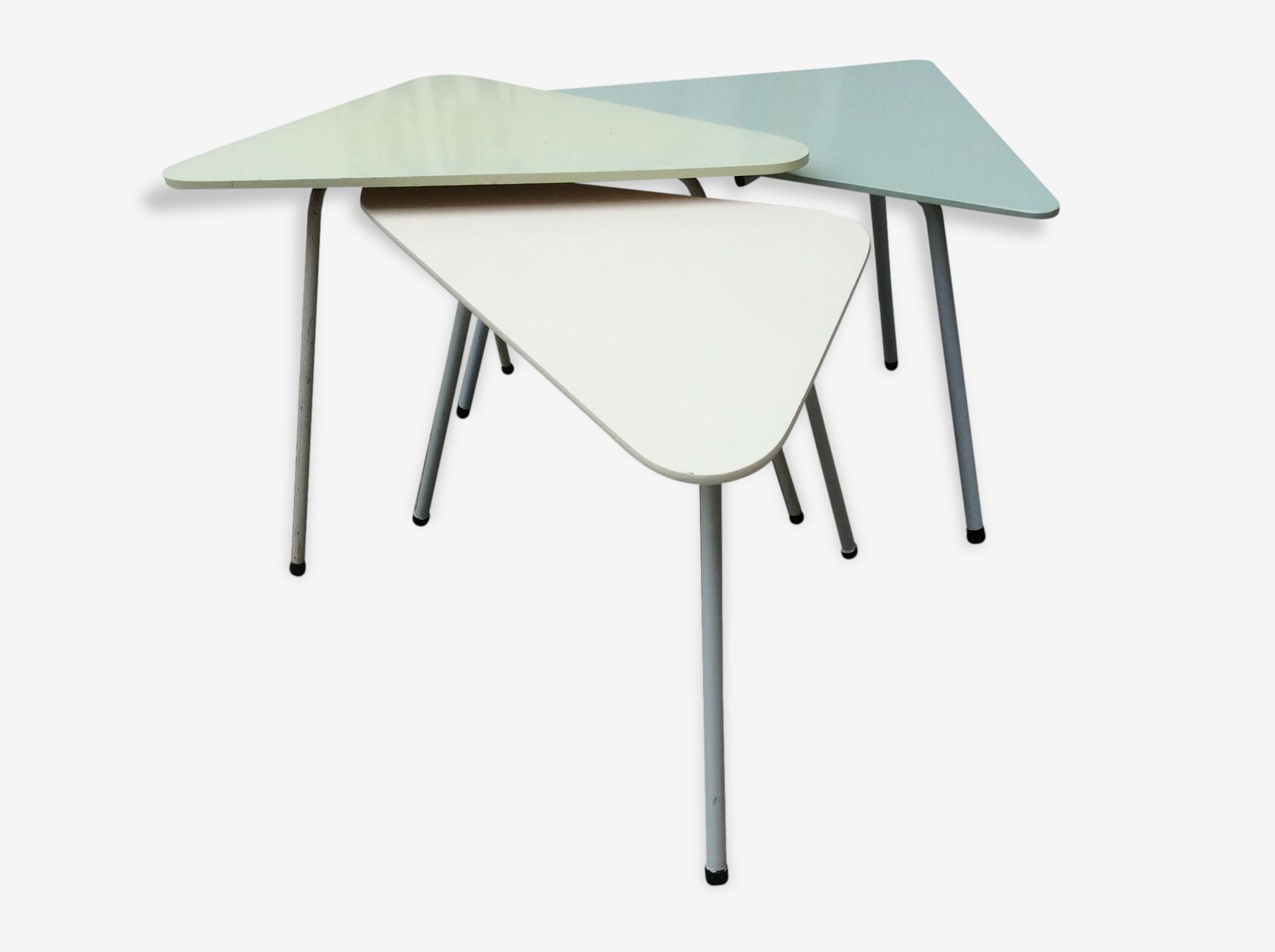 Set de 3 tables gigognes tripode