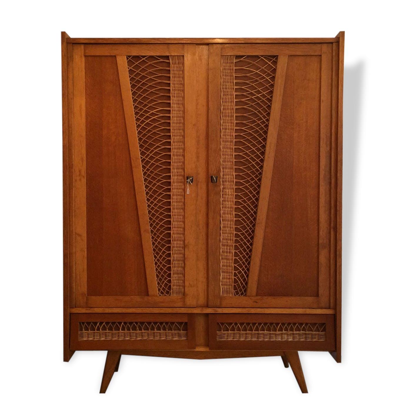 armoire vintage en rotin 1950/ 1960 - rotin et osier - marron