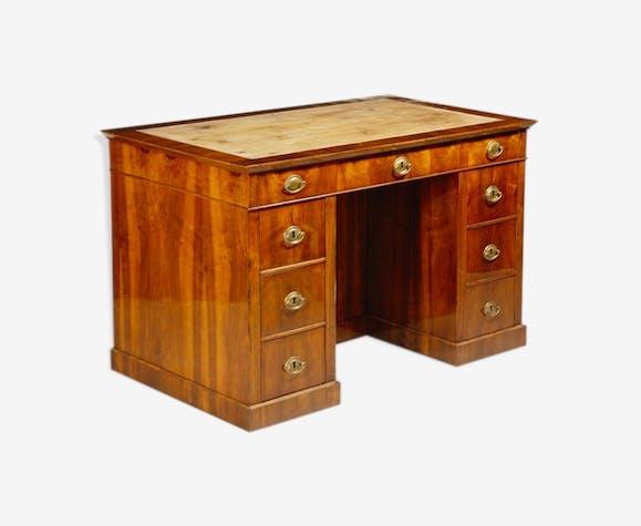 Bureau classique en noyer avec tiroir - bois (Matériau) - bois ...