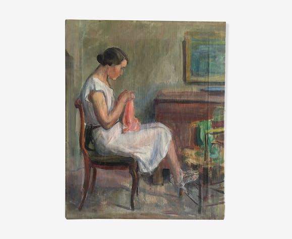 Scène d'intérieur, portrait de jeune fille à l'aiguille, années 30